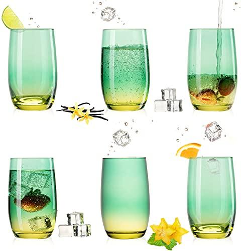 PLATINUX Juego de 6 vasos de cristal verde y amarillo de 300 ml (máx. 370 ml)
