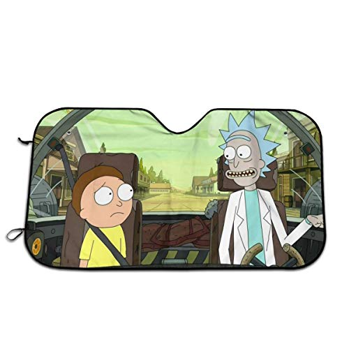 Rick and Morty Car Windshield Sun Shades, Foldable Universal Fit 51.2'''' X 27.5'''' - Keep Your Vehicle Cool, UV Sun and Heat Reflector