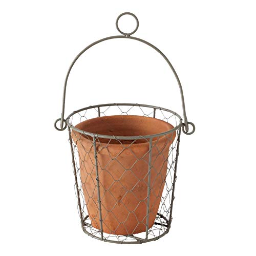 Maceta de arcilla en cesta de alambre para colgar, 15 x 15 cm