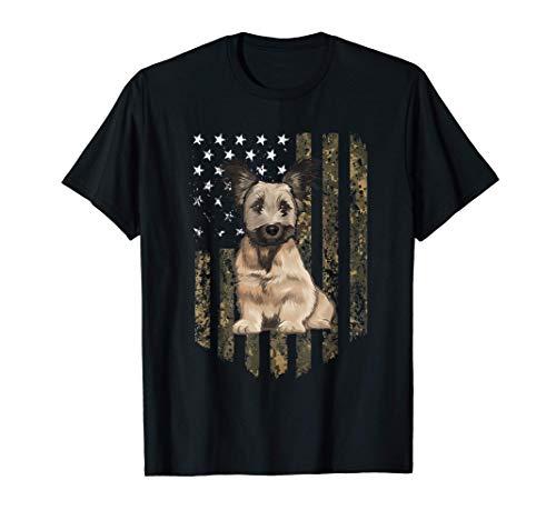 Bandiera Americana Camuflaje Skye Terrier Camiseta