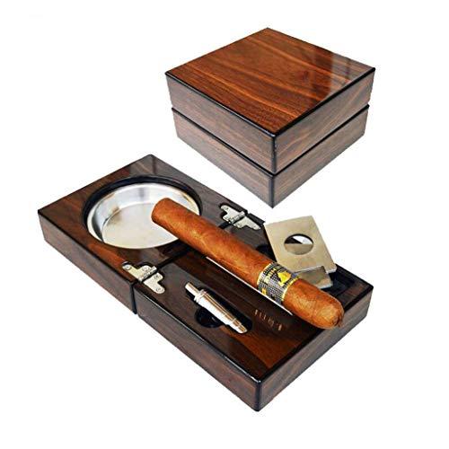 cenicero Cenicero portátil con tapa Juego de cenicero de cigarro de madera Uso al aire libre de interior Bandeja de ceniza de fumar plegable de escritorio Oficina en el hogar Ceniceros portátiles