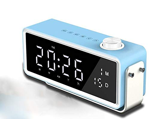 Bluetooth Speaker, Dual Speakers Bass Diaphragm Lithium Battery Clock Alarm Clock High-Definition Mirror Display Radio for Everybody (Color : Blue)