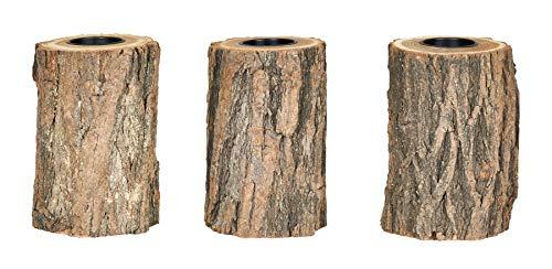 levandeo 3er Set Teelichthalter Holz H15cm Kerzenhalter Kerzenständer Baum Natur Baumstamm Unikat Deko