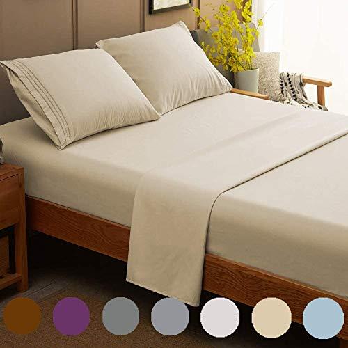 "NJ Global Beddings Luxury Hotel Sheet 620 Thread Count 100% Egyptian Cotton Deep Pocket Sateen Weave Sheet Set Queen (60"" X 80"") Beige Solid Fit Mattress Upto 15-18 Inch Deep"