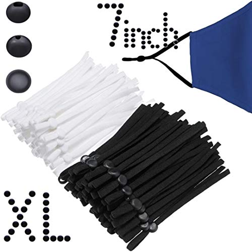 100pcs Adjustable Elastic Ear Loops (XL/XXL)-14 INCH Extra Long Earloop - Elastic Bands for Sewing - Elastic Cord 60 White & 40 Black
