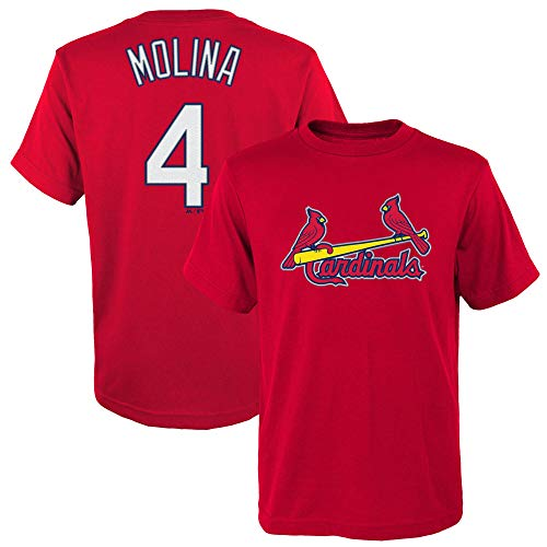 Yadier Molina St Louis Cardinals #4 Red Youth Name and Number Jersey T-Shirt (Medium 10/12)