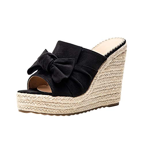 TIFIY Damen Sandalen Mode Frauen Wedge Open Toe Sandalen Damen Hausschuhe Casual Beach Walk Schuhe Modisch Grundlegend Ausgehend Jeden Tag Hausschuhe Schwarz 35