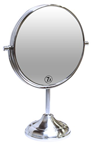 Decobros 8inch LARGE Tabletop Twosided Swivel Vanity Mirror with 7x Magnification 13inch Height