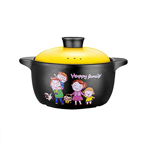 Stew Pot Ceramic Cooking Pot - Casserole non-stick pot with lid soup pot high temperature flame household cookware-Yellow