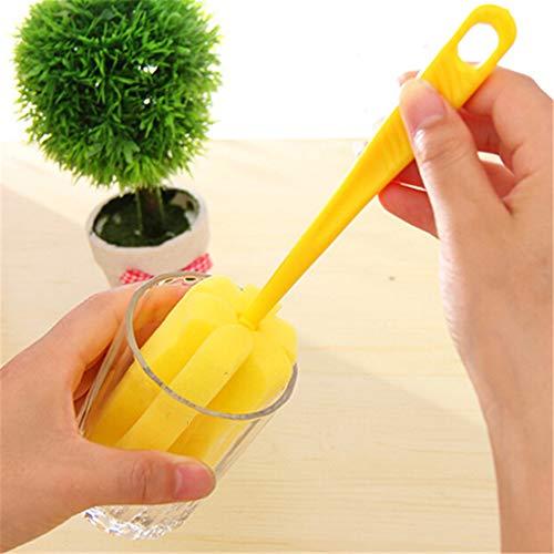 Cleaning Brush Spons voor Melkfles Cup Glazen wassen Keuken Cleaner Gereedschap plastic handvat Supplies (1 st) willekeurige kleur,Natural