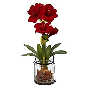 Nearly Natural Amaryllis with Vase Floral Decor, 24″, Red