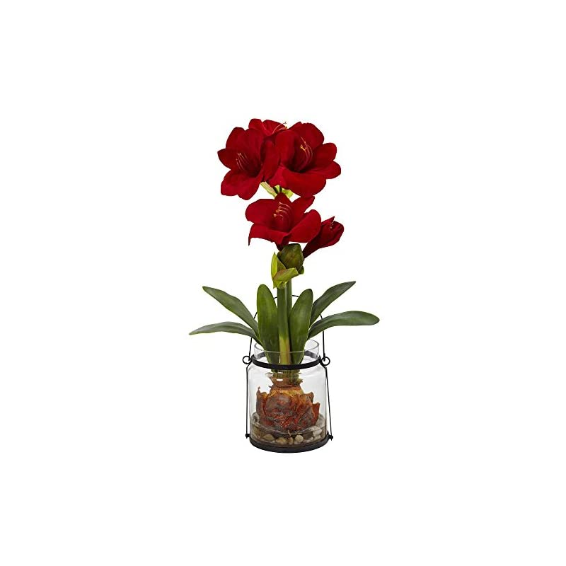 """silk flower arrangements nearly natural amaryllis with vase floral decor, 24"""", red"""