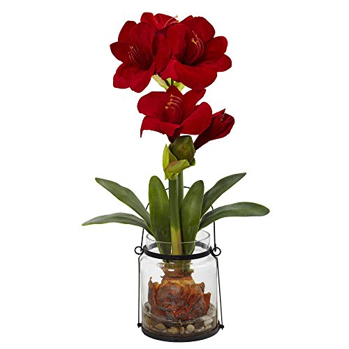 Nearly Natural Fast Natur Amaryllis mit Vase Floral Decor, 61 cm rot