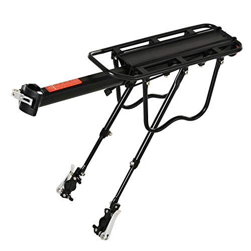 HOMCOM Portaequipajes Posterior para Bicicletas Portaequipajes con Reflector Rojo para Maletas Revestimiento Inoxidable Carga Máx. 25 kg 58x39x14,5 cm Negro