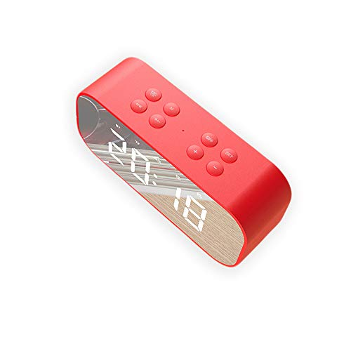 Mars Jun Digitaler Wecker Bluetooth Lautsprecher FM Radiowecker Dual-Alarm mit USB-Ladeanschluss Bluetooth 4.2 Lautsprecher LED-Anzeige mit Dimmer HD-Anruf Unterstützung TF-Karte, AUX(rot)