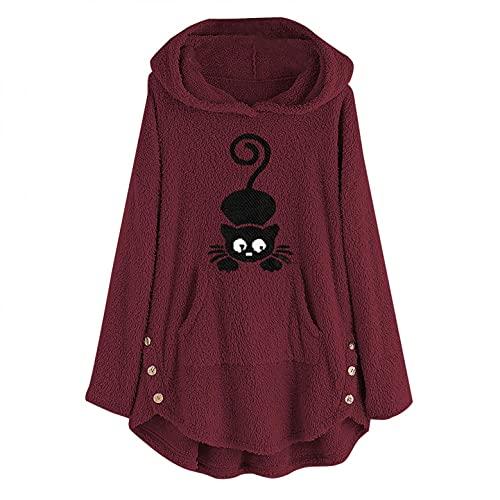Abrigo Mujer Rebajas Cárdigans Hoodie de Franela Sweater Mujer Estampado de Bordado Gato Divertida Sudaderas de Gran TamañO Casuales Chaqueta deportiva Mujer Rebeca de Térmica Pulover S~5XL/5 Colors