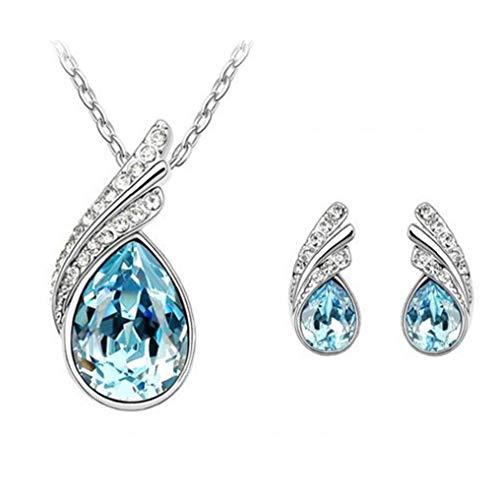 ZYCX123 Cristal de Las Mujeres Pendientes del Collar Gema de la joyería de la Cadena del Cuello a Juego Regalos Pendientes de la Manera
