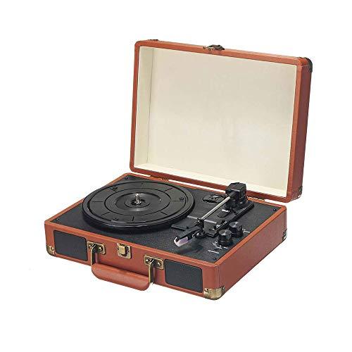 SCKL Vintage 33/45/78 Brown draadloze Bluetooth platenspeler koffer draaischijf vinylooptekening telefoon speler Aux-In Line-Out