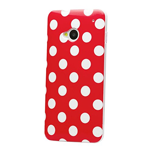 iCues HTC One M7 |  Polka Dots TPU Case Rot | [Display Schutzfolie Inklusive] Damen Frauen Mädchen Silikon Gel Motiv Muster Schutzhülle Hülle Cover Schutz