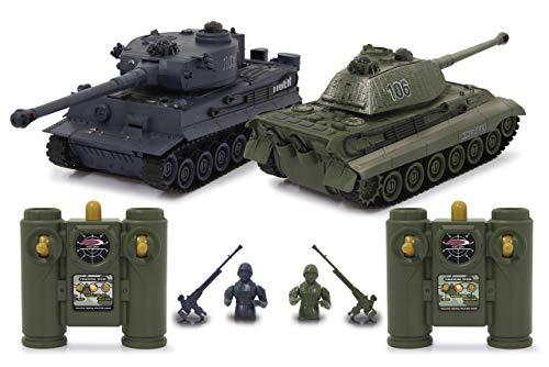 JAMARA 403635 - Panzer Tiger Battle Set 2,4 GHz - Battlemodus mit simulierter Schadensanzeige (Antriebsausfall, Kampf- und Fahrunfähig), extrem wendig, Geschützfeuer, Maschinengewehrfeuer