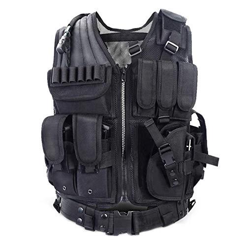 LIANA IRWIN Taktische Weste Herren, Militär Tactical MOLLE Weste Für Jagd CS Outdoor (Schwarz)