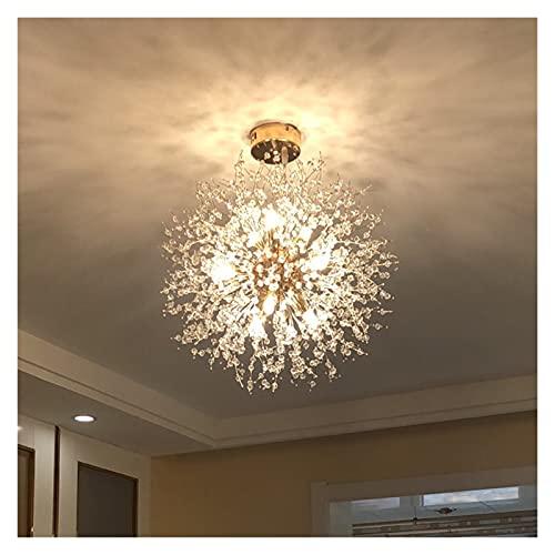 Iluminación de techo Lámpara de araña LED para salón comedor Cocina Dormitorio Decoración moderna Lustre Luz de techo Pendiente ( Emitting Color : Tricolor Dimmable , Lampshade Color : D50cm 9bulbs )