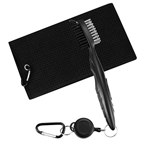 Golf Club Brush and Golf Towel Tool Kit Golf Club Cleaner with Carabiner Clip Golf Cleaning Accessories with Waffle Pattern Design Golf Ball Cleaner Set