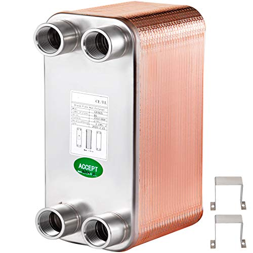 Mophorn Plate Heat Exchanger, 5' x 12' 50 Plate Water to Water Heat Exchanger, Copper/SS316L Stainless Steel Brazed Plate Heat Exchanger 1 Inch FPT Ports For Floor Heating, Water Heating, Snow Melting