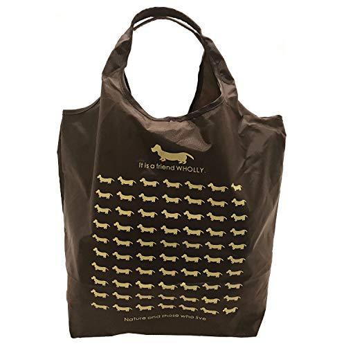 優美社 トートバッグ エコバッグ 角型 マチ付き 犬柄 ブラウン 約縦37×横32×マチ21cm WHOLLY コンパクト 折りたたみ 買い物袋 3L02-01
