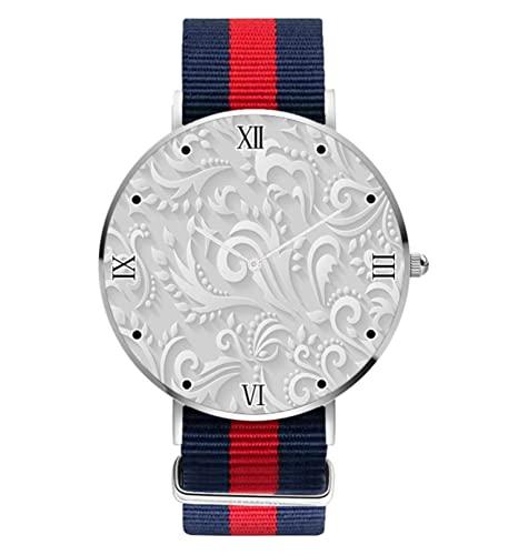 Fleur-De-Lis - Reloj de cuarzo analógico para mujer, diseño de flores, color blanco