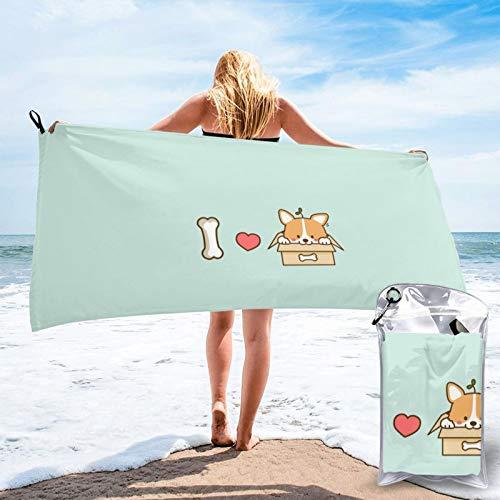 Sunmuchen I Love You - Toalla de baño Shiba Inu, toalla de gimnasio, toalla de playa, uso multiusos para deportes, viajes, súper absorbente, microfibra suave de secado rápido, ligero