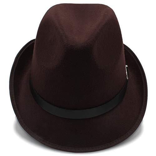 Fang-hats shop Fang-hats shop, Fedora-Hut, für Damen, britischer Stil, Fedora-Hut, für Herren, Herbst, Winter, lässig, Trilby-Hüte, lässig, Coffee, 55-58 cm