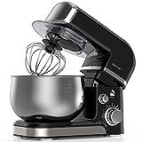 LILPARTNER Küchenmaschine Rührgerät, 1000W elektrischer Rührmaschine, 6-Gang-Teigmischer mit Kippkopf 3,7QT Edelstahlschüssel, Teighaken, Schläger Mischen, Schneebesen, Spritzschutz