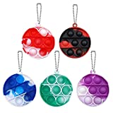 Leencum 5Pcs Mini Simple Dimple Fidget Toy Stress Relief Hand Toys Keychain Toy Bubble Wrap Pop Anxiety Stress Reliever Office Desk Toy for Kids Adults (Round)