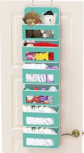 Simple Houseware Over Door/Wall Mount 6 Clear Window Pocket Organizer, Turquoise
