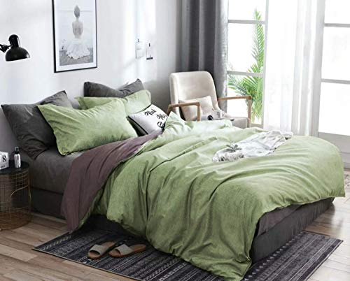 Omelas 3Pcs Green Gray Duvet Cover Set Queen Size Sage Green Charcoal Grey Reversible Duvet Covers Modern Solid Colored Farmhouse Bedding Microfiber Chambray Comforter Quilt Cover for Men Women