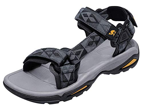 CAMEL CROWN Unisex Sandals Verstellbare Klettertrittsandalen Athletic Fisherman Hiking, Schwarz, Gr.- 45 EU/10 UK