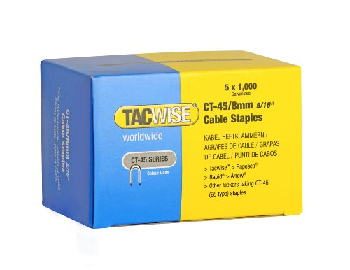 Caja de 5000 grapas galvanizadas CT-45/8 mm. Tacwise 0351 para cable. Puntas divergentes