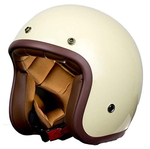 Casco moto vintage bianco Pendejo della collezione personalizzata iguana, prefetto stile retrò per cafe racer, bobber, chopper, scooter o moto classica. (M)