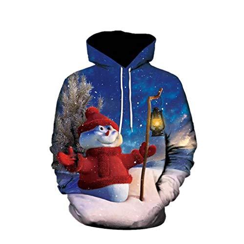 LIMITA Herren 3D-Druck Weihnachten Pullover Langärmliger Hoodie Sweatshirt Tops Bluse Weihnachten deko Weihnachtskostüm