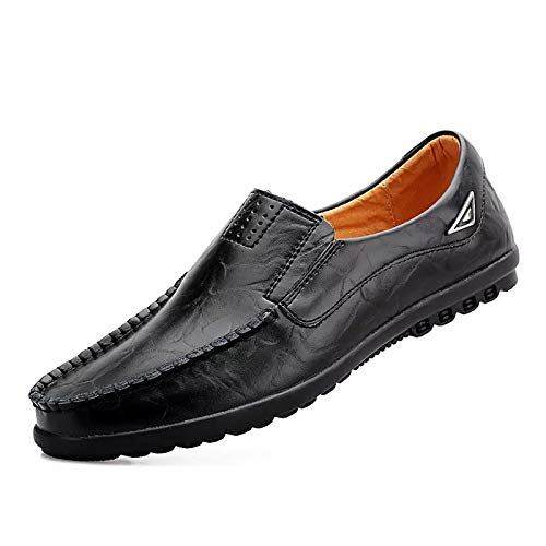 ReverseClock Men's Leather Slip-on Loafers Casual Fashion Breathable Driving Shoes (11,Black)