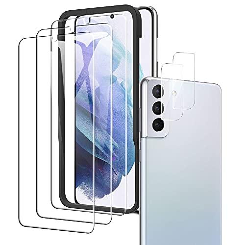 A-VIDET Kompatibel mit Samsung Galaxy S21 Panzerglas(3 Stück)+ Kamera Panzerglas(2 Stück),HD Klar Kameraschutz Folie Gehärtetem Glas Bildschirmschutzfolie