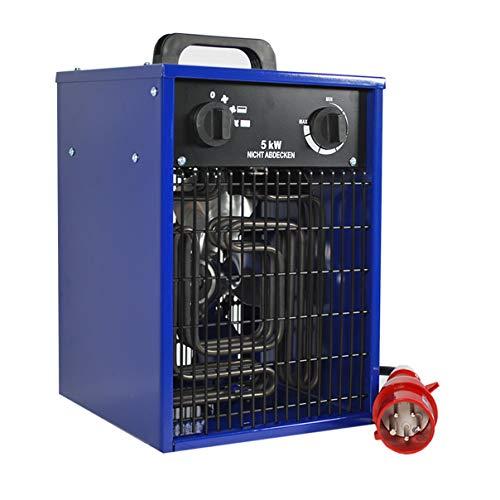 HELO Heizlüfter 5 kW Elektroheizer mit 2 Heizstufen, Thermostat und Überhitzungsschutz (Temperatur stufenlos regelbar), Heißluftgenerator geeignet als Bauheizer oder Bautrockner (400V/50hz Starkstrom)
