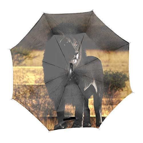 動物ライオンブラックメラニズム逆転傘 C型手元 ビジネス 車用 主婦用 逆さ傘 二重生地構造 両手解放可能 撥水耐風 UVカット遮光遮熱 晴雨兼用 逆折り式傘 自立傘 長傘