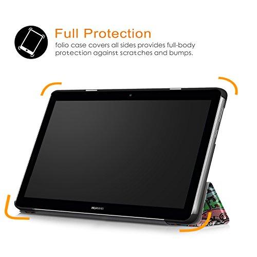 Xuanbeier Huawei MediaPad T3 10 Hülle Case-Ultra Dünn und Leicht PU Leder Schutzhülle Cover für Huawei MediaPad T3 10(9,6 Zoll) (Z-Graffiti) - 7