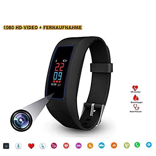 SM8 Fitness Armband Uhr Kamera,OLED Touchscreen Versteckte Kamera FHD Videoaufnahme Bracelet Frauen Pulsmesser Pulsuhr Schrittzähler Sportuhr für Android, iOS und Bluetooth -16GB