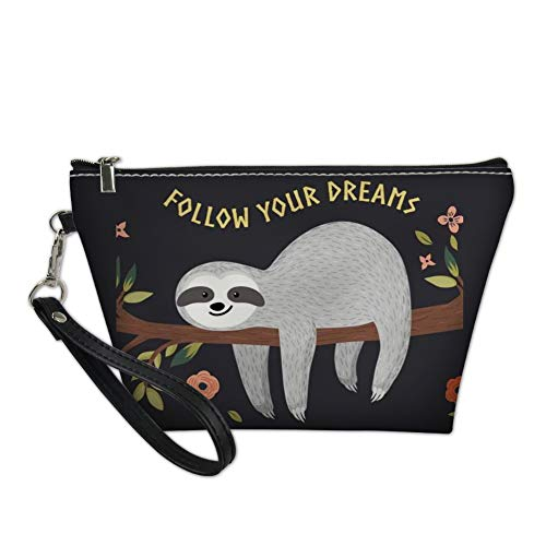 Nopersonality Cute Sloth Floral Makeup Cosmetic Bag Black Handy Travel Beauty Organiser for Women Girl Printed Follow Your Dreams