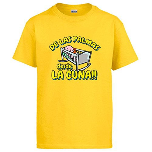 Diver Camisetas Camiseta de Las Palmas Desde la Cuna para Aficionado al fútbol para Aficionado al fútbol - Amarillo, XL
