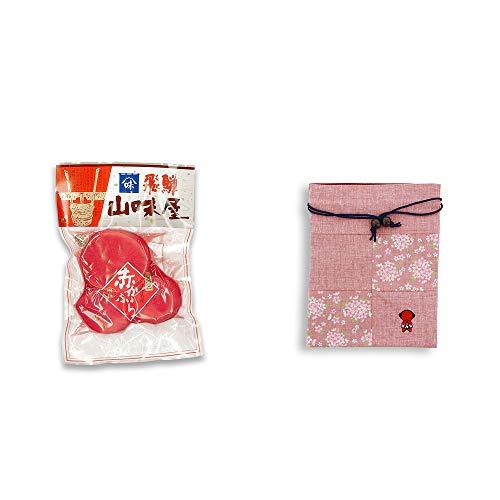 [2点セット] 飛騨山味屋 赤かぶら【大】(230g)[赤かぶ漬け]・おねがいさるぼぼ 巾着【ピンク】