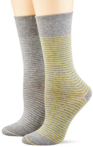 ESPRIT Damen Fine Stripe 2-Pack Socken, grau (light grey mel. 3390), 39-42 (2er Pack)